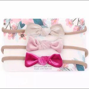 Other - Brand New Set of 3 Velvet Baby Girl Headbands 0-2Y